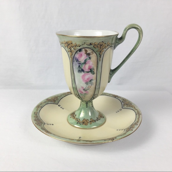 Vintage Hand Painted French Teacup & Saucer Set